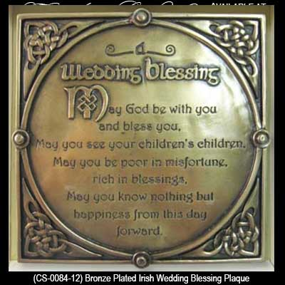 Irish Wedding Blessing Plaque Bronze Trinity Knots Gifts