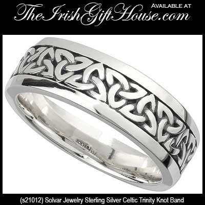Silver Celtic Trinity Knot Mens Band Sterling Solvar