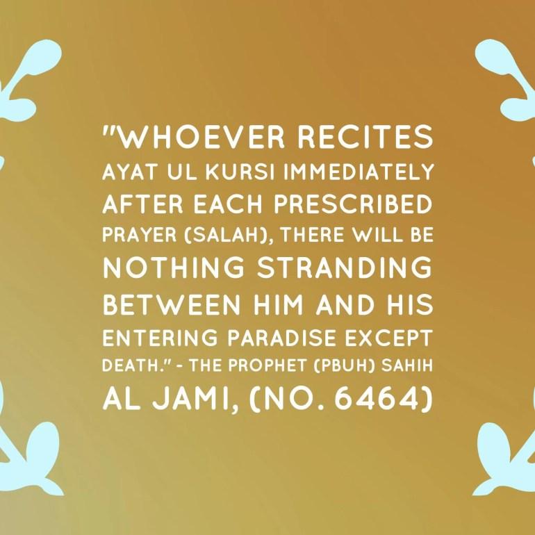 ayat ul kursi after every salah hadith