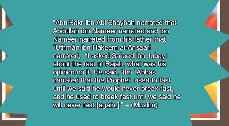 rajab fasting hadith