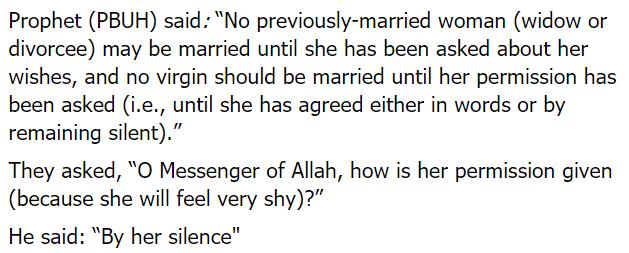 forcing girl marriage islam hadith