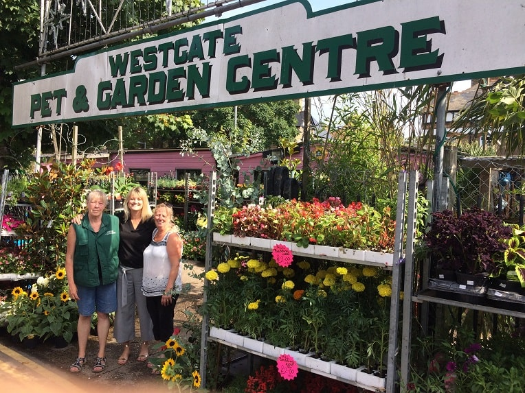 Elaine Stevens, Manageress, Sara Scriven PIlgrims Hosices and Jackie Young Owner of Westgate Garden Centre