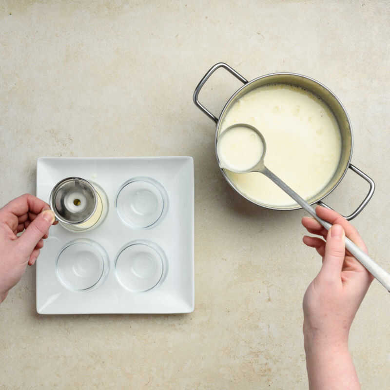 Pour the panna cotta mixture directly in the glasses using a funnel