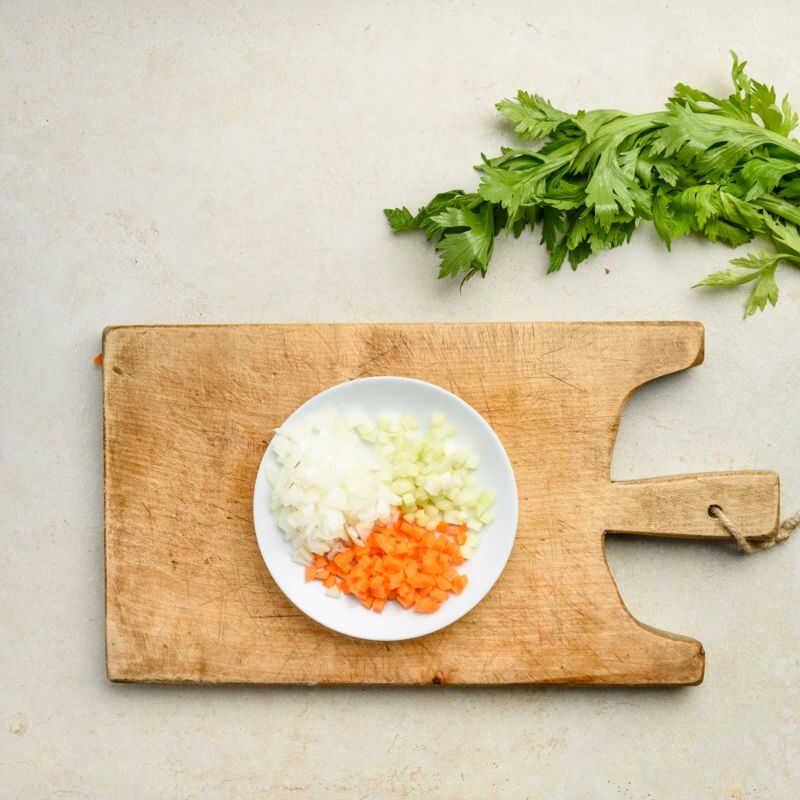 diced celery, carrot and onion
