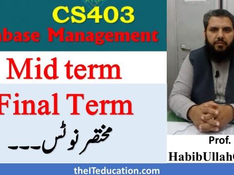cs403 dbms short notes pdf download - ppsc preparation notes vu mid final