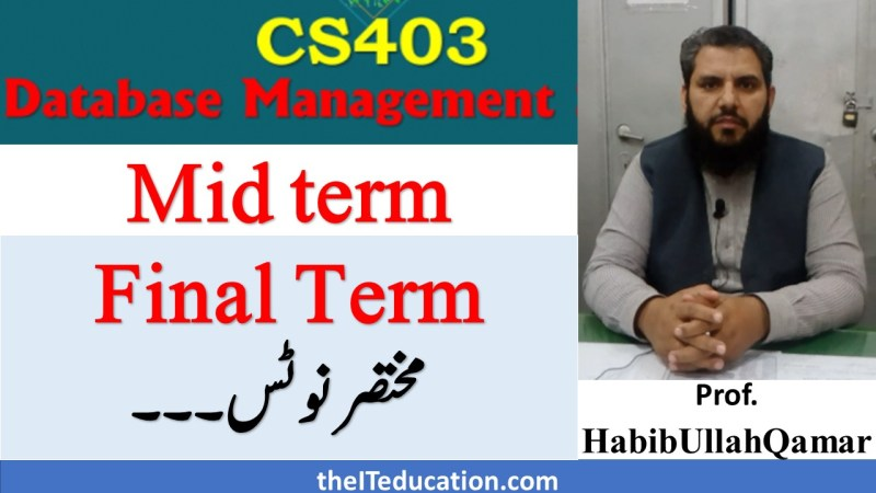 cs403 dbms short notes pdf download - ppsc preparation notes vu mid final