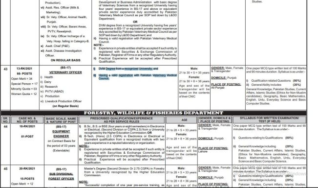 PPSC VETERINARY OFFICER BS-17 Jobs  In  LIVESTOCK & DAIRY DEVELOPMENT DEPARTMENT 2021