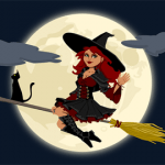 witch flying to the moon