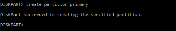 create primary partition diskpart