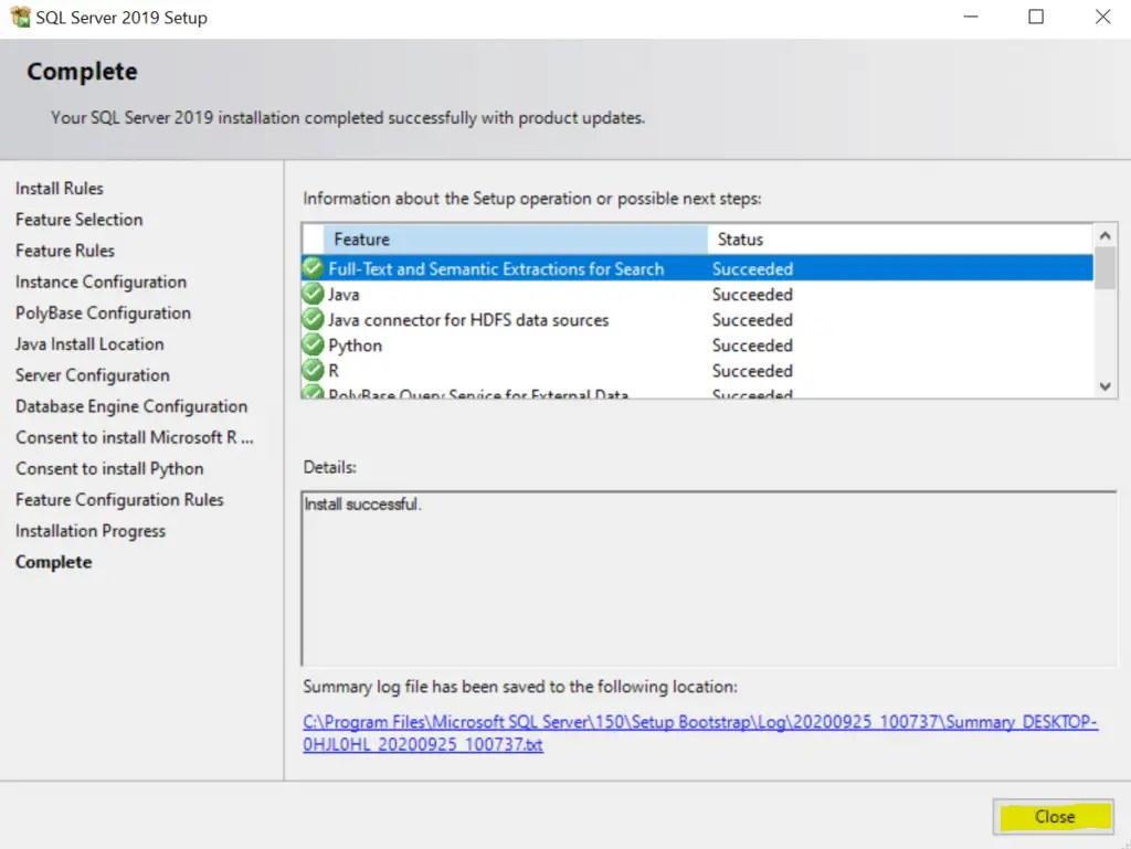 SQL Server 2019 Setup complete
