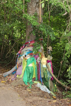 Tree shrine, including ball gowns