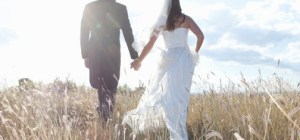 Newlywed couple holding hands in grass