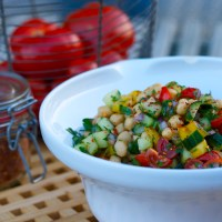 chickpea salad with cucumber, tomatoes & peppers