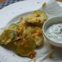 Zucchini beignets with chive-lemon yoghurt