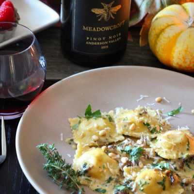 Winter Squash Ravioli with a Mushroom sauce