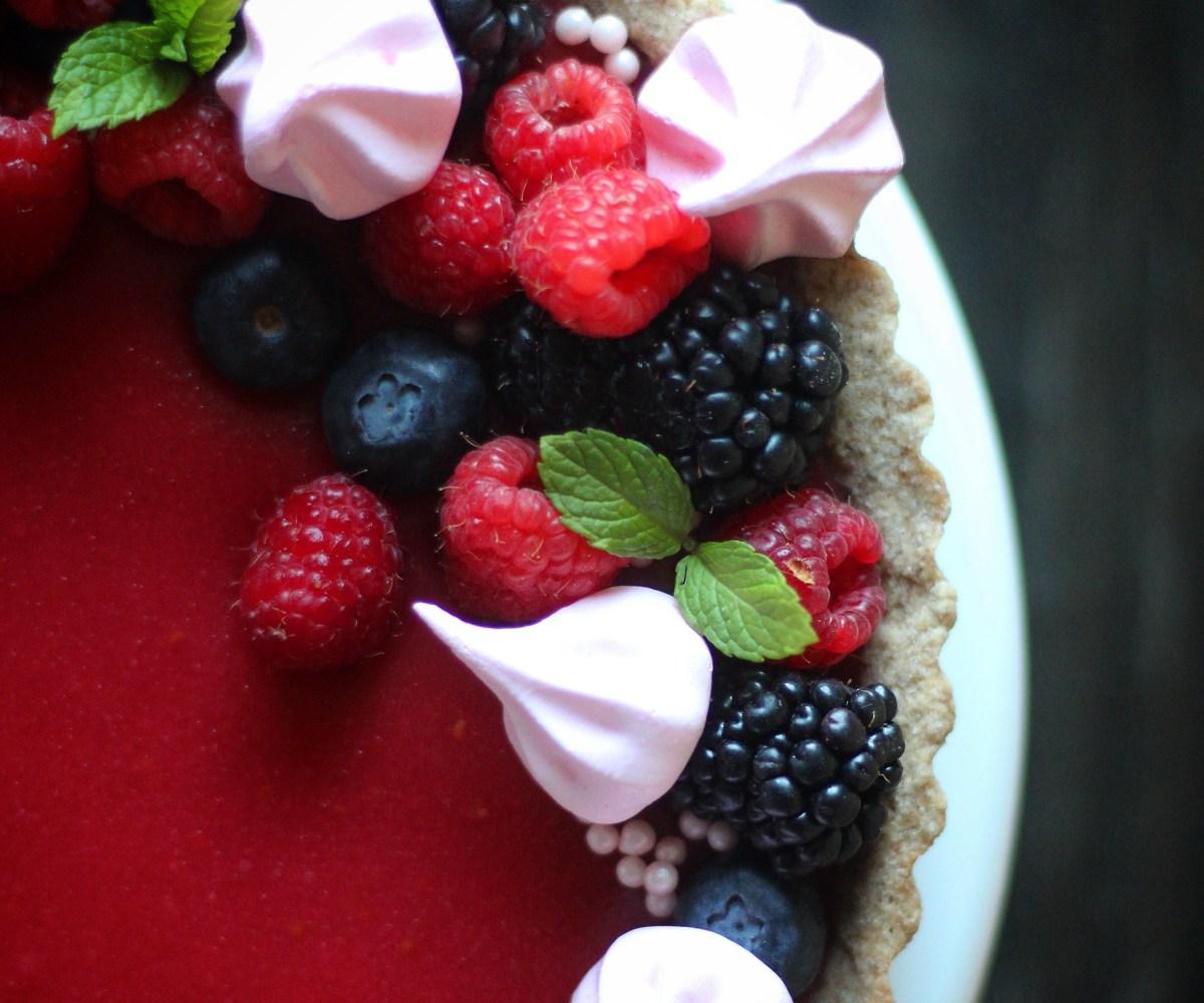 Rose-Raspberry Lemon Curd Tart with Pink Meringues