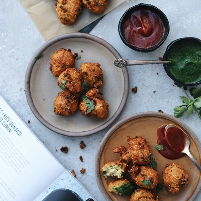 Hush Puppies ( Rice Bondas ) With Pepper and Cumin from Masala and Meatballs Cookbook and a Giveaway!