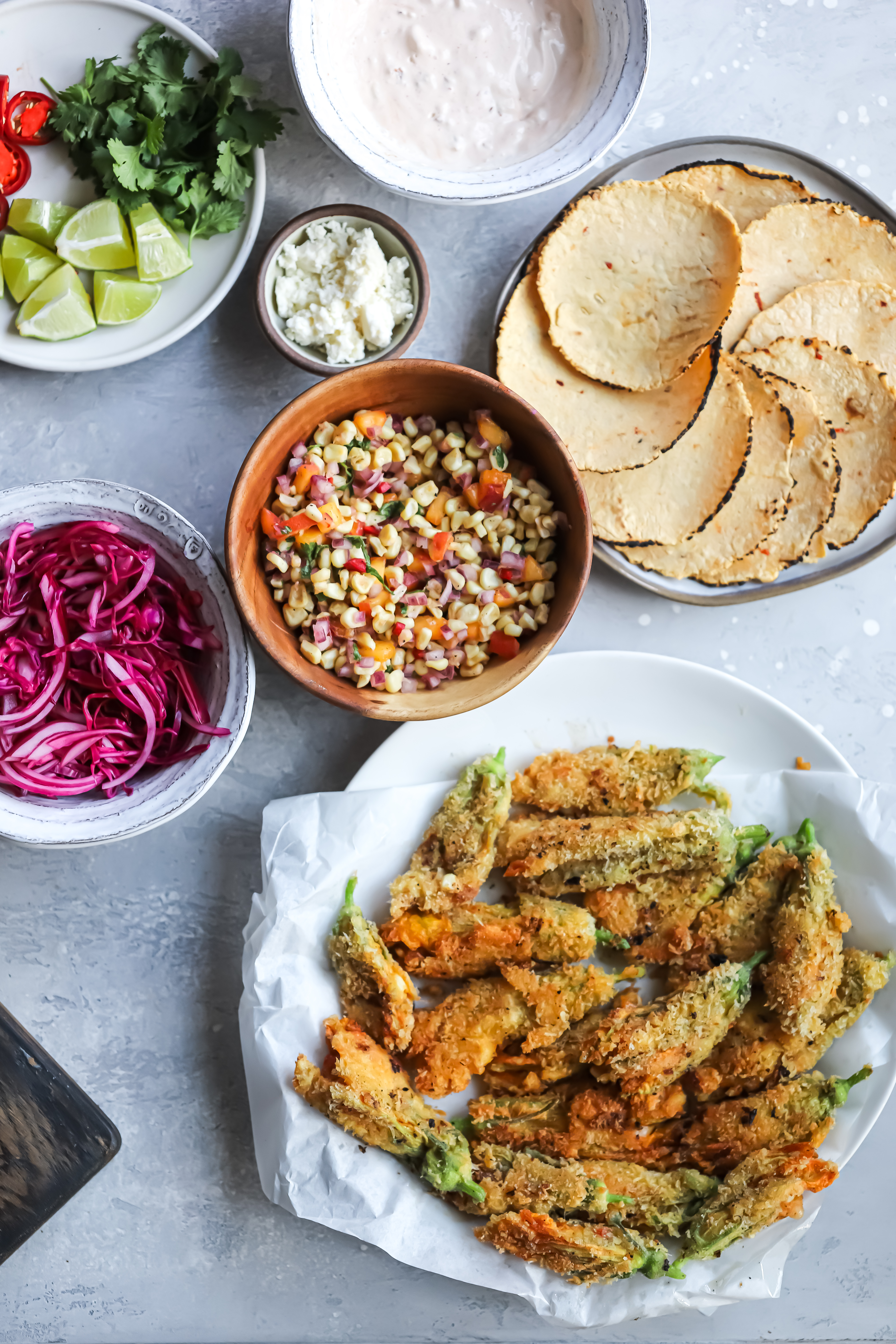 SUMMER STUFFED AND FRIED SQUASH BLOSSOM TACOS