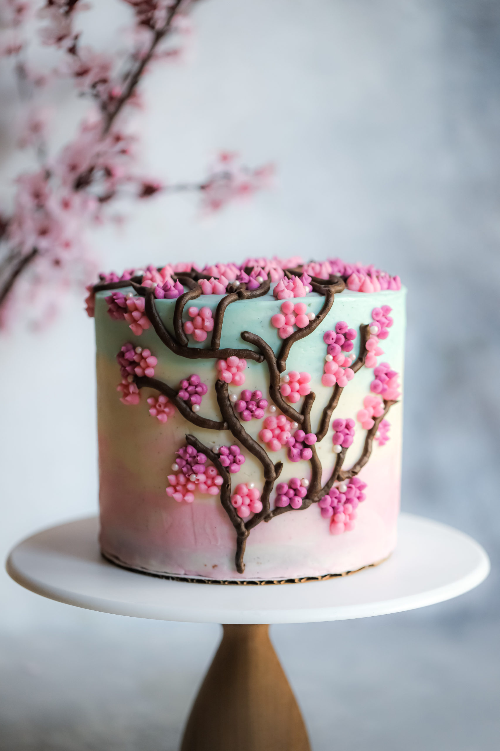 Cherry Blossom Cake with Cherry Blossom Buttercream Frosting