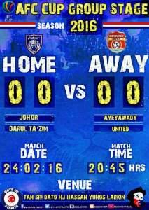 Live streaming jdt vs ayeyawady afc cup 24.2.2016