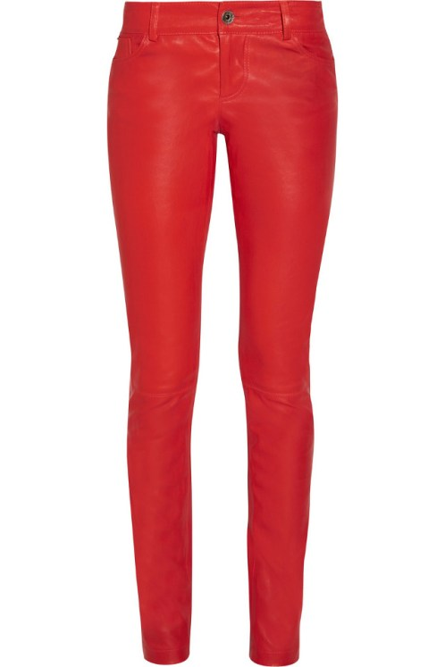 Alice & Olivia Red Leather Pants