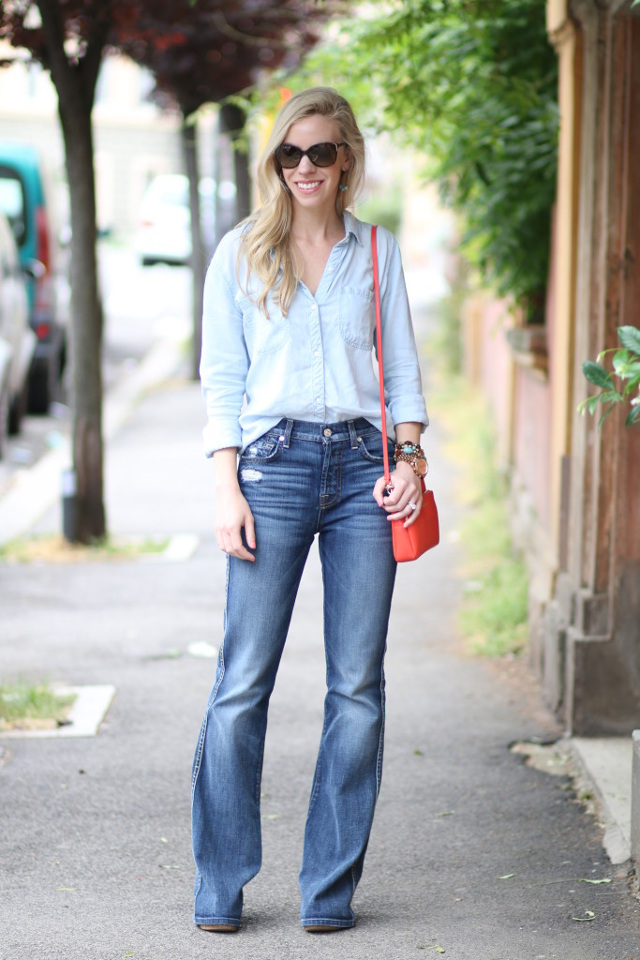 rails-la-carter-chambray-shirt-7-for-all-mankind-high-waist-vintage-bootcut-jeans-denim-on-denim-outfit-Furla-orange-summer-bag-Italian-fashion-blog