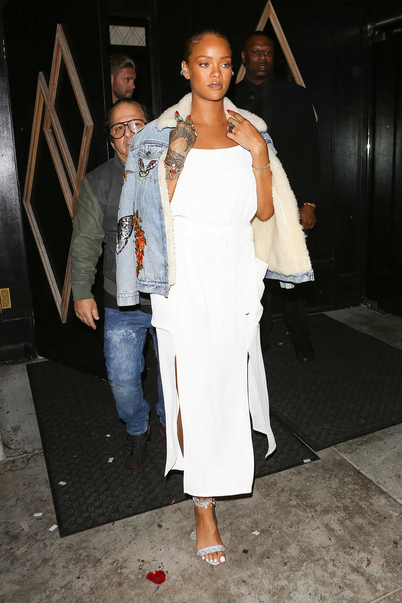 Rihanna-Wears-A-Gucci-Embroidered-Denim-Jacket-Over-Dress