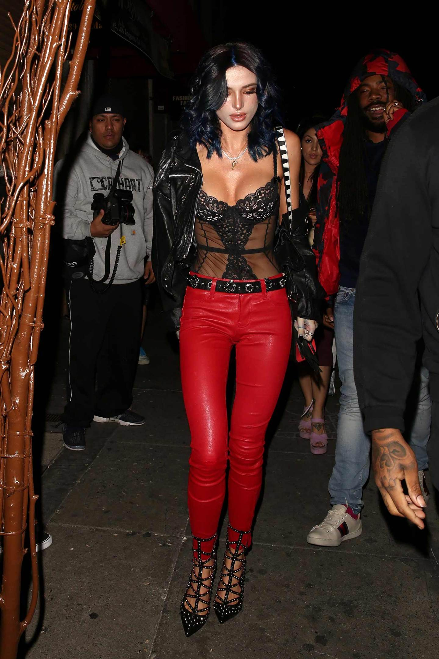 bella-thorne-red-j-brand-leather-pants