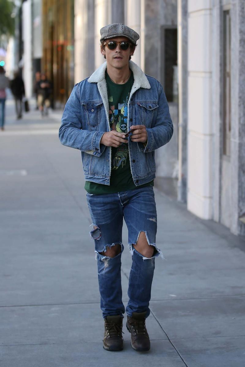 Brenton Thwaites Rocks Double Denim | The Jeans Blog