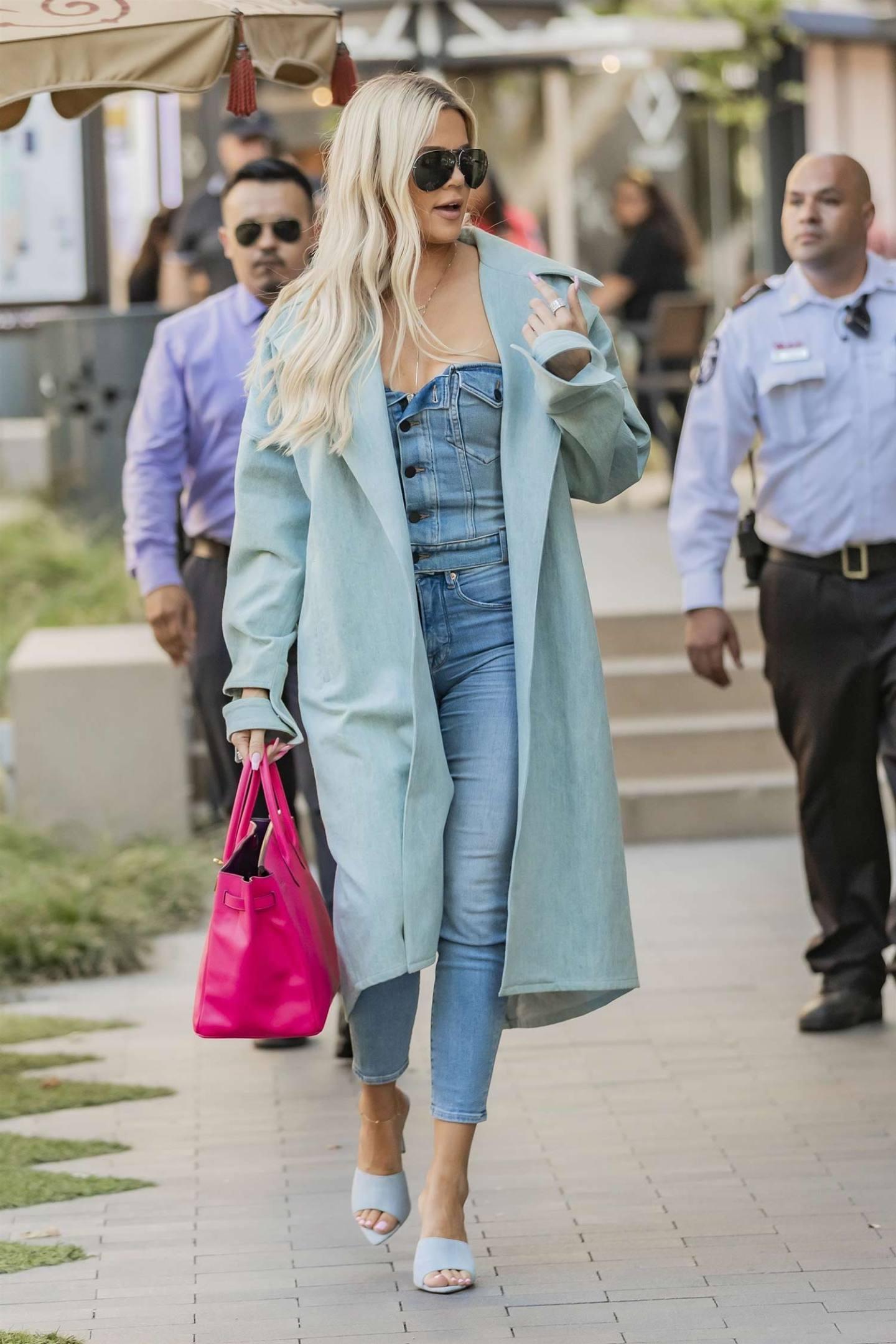Khloe Kardashian Wears Double Denim
