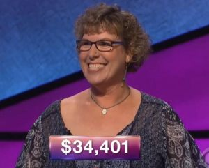 Lori Goodman, today's Jeopardy! winner (for the September 11, 2018 game.)