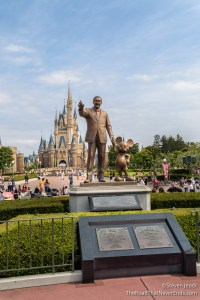 "Walt and Mickey ""Partners"" statue, with Cinerella Castle in the background"