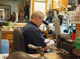 Tim at the workbench