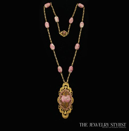Pink Art Glass Miriam Haskell Necklace