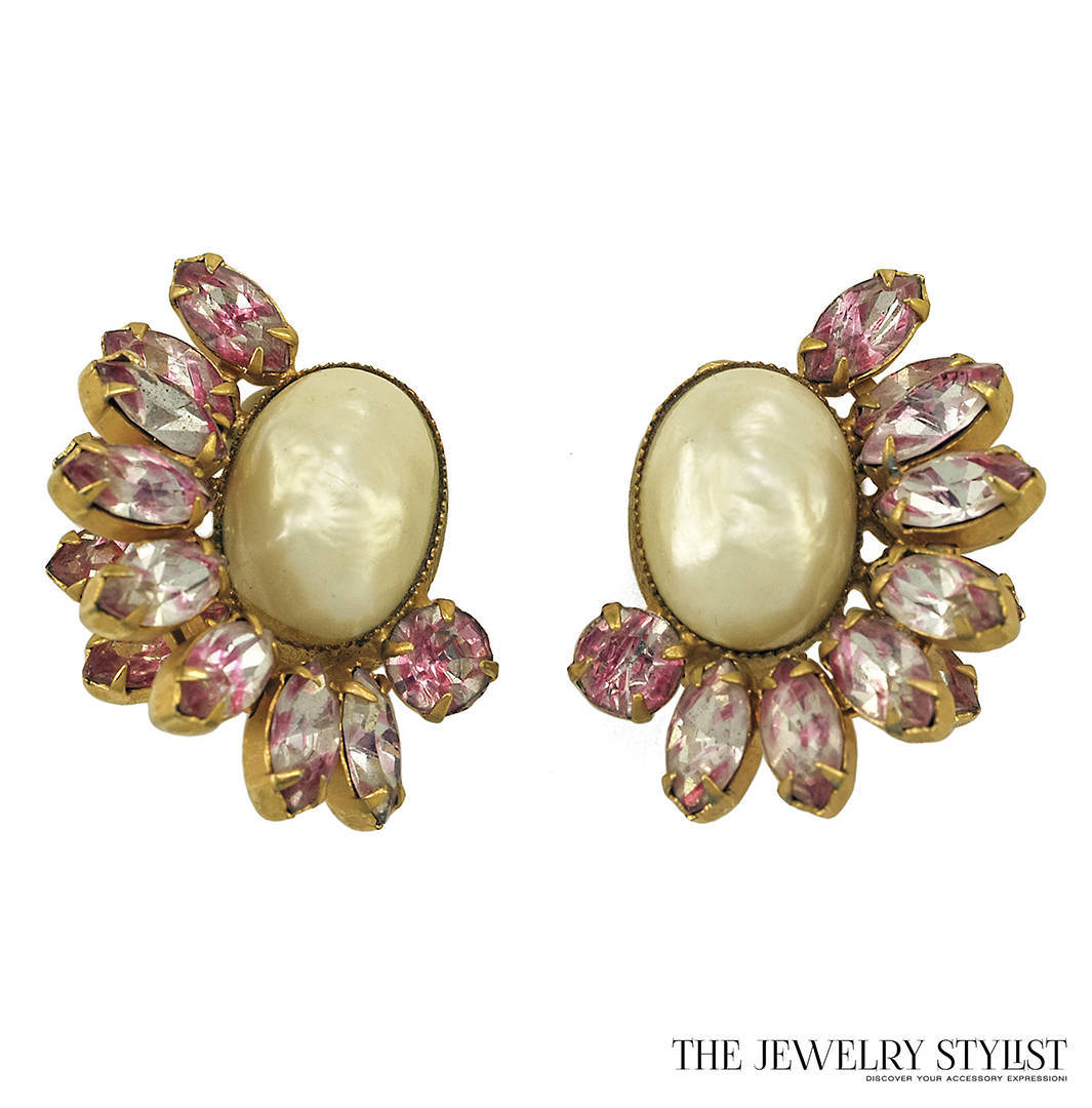 Pink Givre Rhinestone and Large Faux Pearl Bracelet and Earring Set