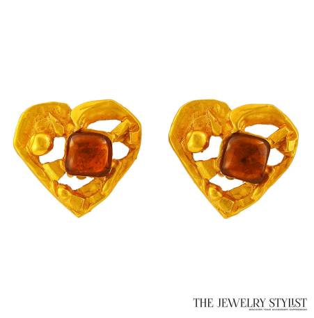 Vintage Christian Lacroix Heart-Shaped Earrings