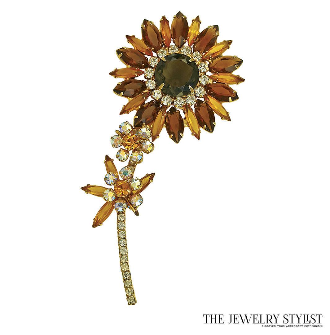 Vintage Delizza & Elster Flower Brooch