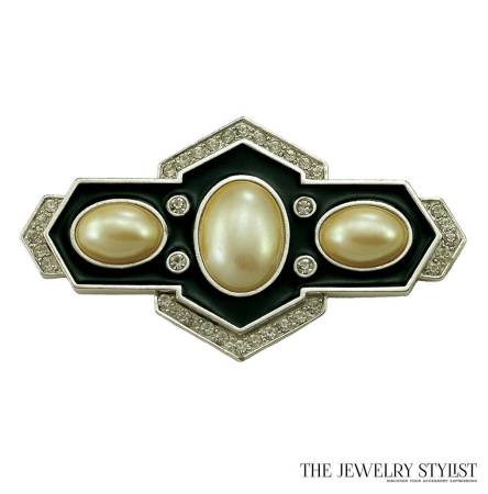 YSL Deco Style Brooch 1980s