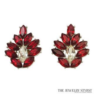 Huge 1980s Fabulous Y.S.L. Red Rhinestone Earrings
