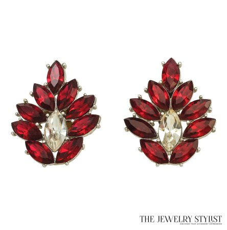Huge 1980s Fabulous Y.S.L. Red Rhinestone Earrings