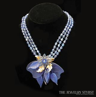 Ian St Gielar Molded Glass and Crystal Necklace 1