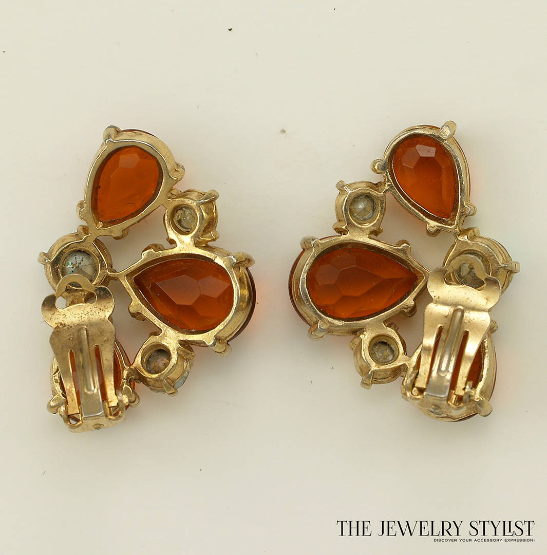 Vintage Orange and Aurora Borealis Selro Earrings Back View