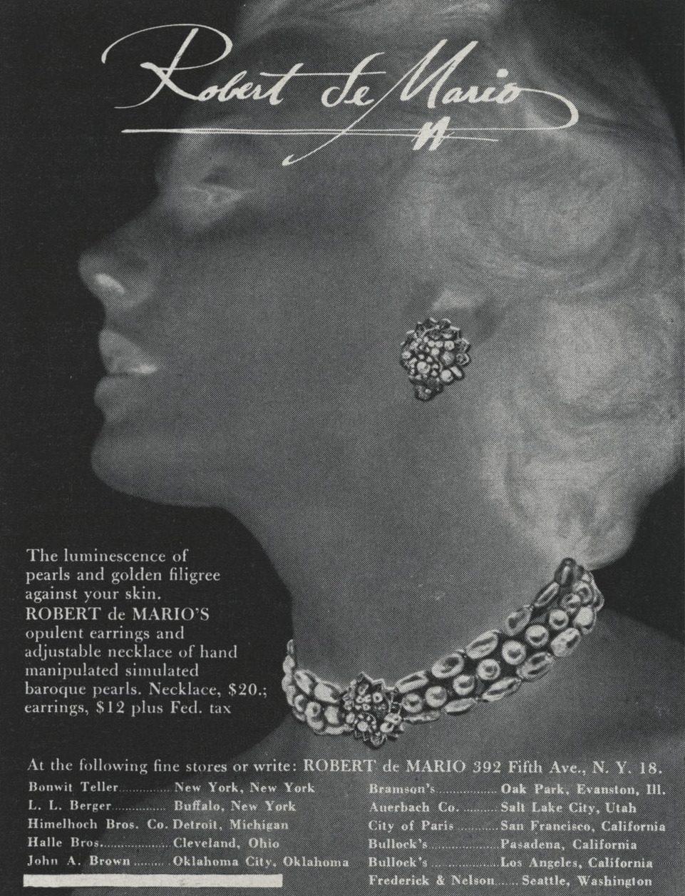 Vintage 1950 Robert DeMario Advertisement