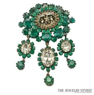 Vintage Schreiner Emerald and Smokey Rhinestone Brooch