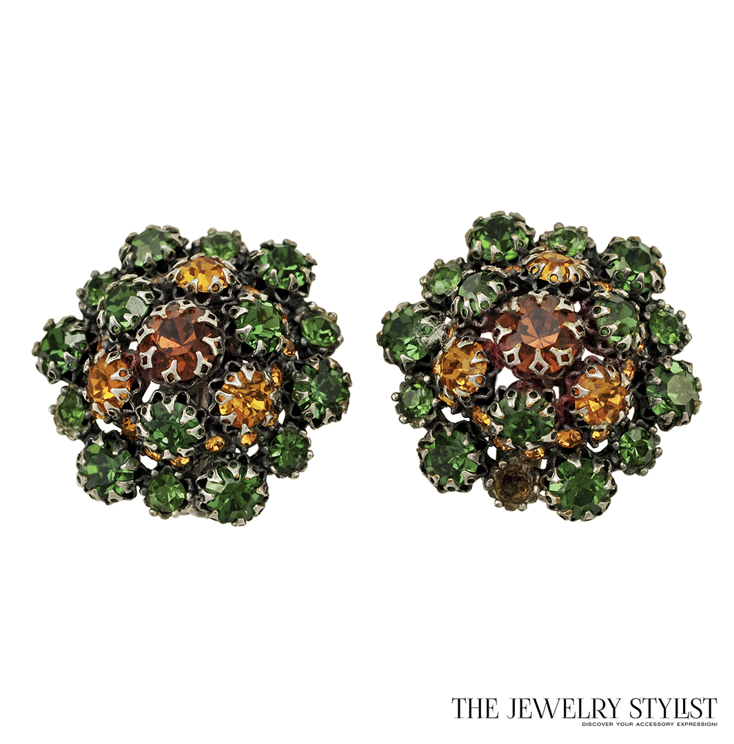 Schiaparelli Emerald Green and Topaz Rhinestone Earrings