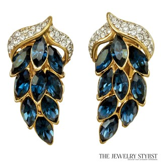 Gorgeous Vintage Shappire Rhinestone Earrings