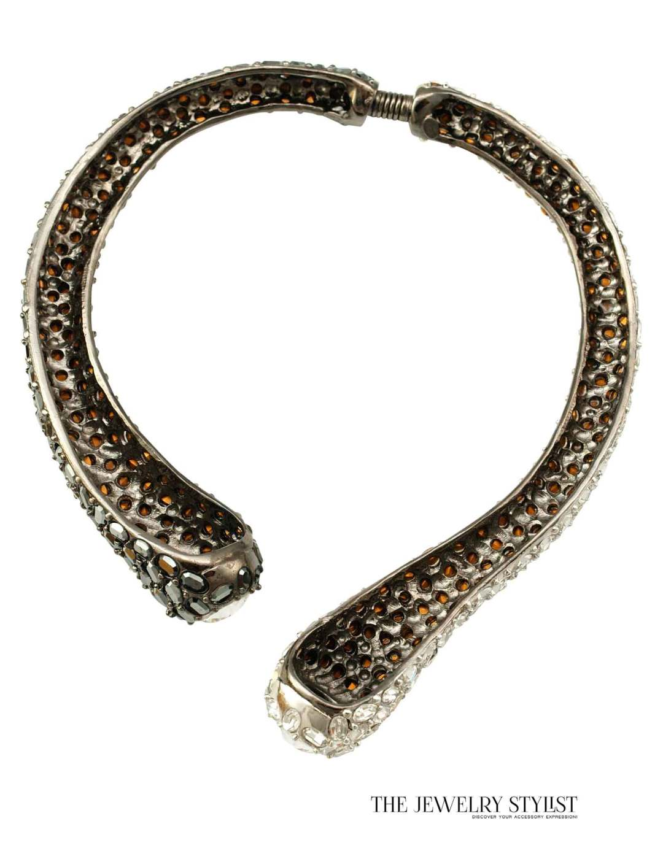 Kenneth J. Lane Crystal Rhinestone Spring Hinge Collar Necklace (KJL)