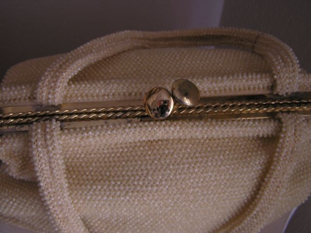 Fabulous 1950-1960s cream-colored beaded purse Top View