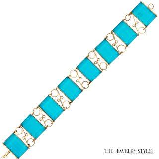 Vintage Faceted Resin Hand-Wired Link Bracelet Front