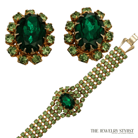 Vintage 1950s Peridot and Emerald Colored Rhinestone Earring and Bracelet Set